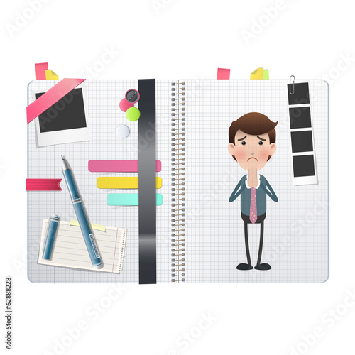 Businessman printed over notebook. Vector design