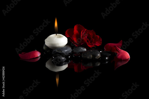 candle stones flower rose background nature flame