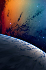 Planet with nebula.