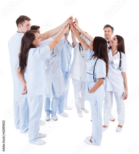 Large group of motivated doctors and nurses