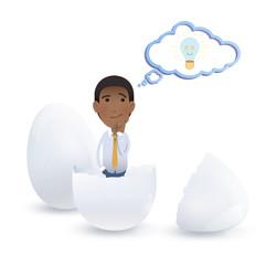 businessman inside an egg over white background, Vector design