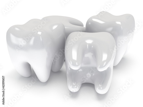Teeth isolated on white back.