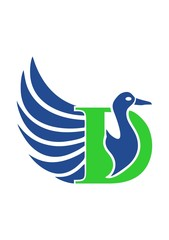 green Letter D Blue Duck