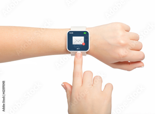 Isolated female hand with smartwatch with email on the screen