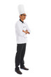 side view indian male chef isolated on white background