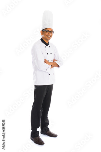 indian male chef isolated on white background