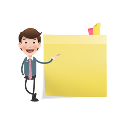 Businessman showing a postit over white background