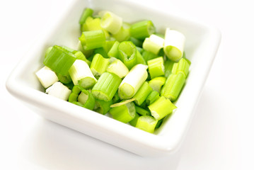 Fresh Chopped Chives in a White Square Bowl