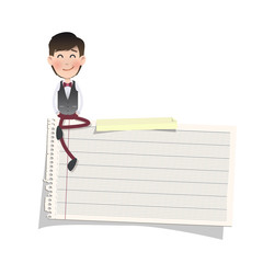 Businessman with note paper over white background. Vector design
