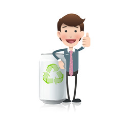 Businessman with eco can over white background