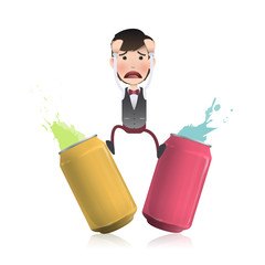 Worried businessman between two cans