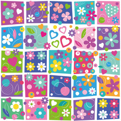 colorful flowers and hearts collection pattern