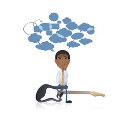 Businessman with guitar over white background