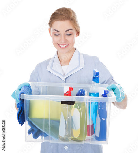 Female Maid Holding Cleaning Supplies