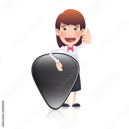 Businesswoman holding a plectrum over white background