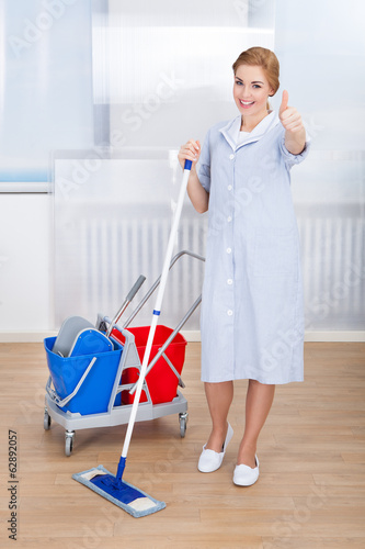 Young Maid Holding Mop
