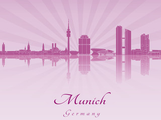 Munich skyline in purple radiant orchid