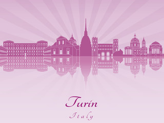 Turin skyline in purple radiant orchid