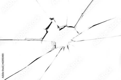 Centered hole in glass isolated on white background