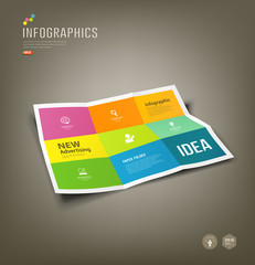 Colorful Paper Infographics Folded 9 fold