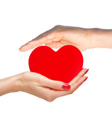 Red heart in woman and man hands isolated on white