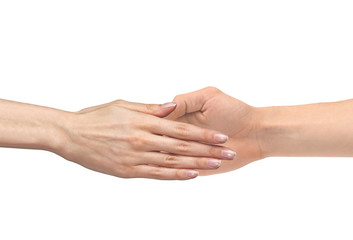 Women's hand goes to the man's hand isolated on white background