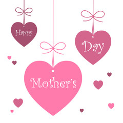 """HAPPY MOTHER'S DAY"" HEART-SHAPED TAGS (love hearts card)"