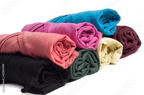 Rolls of multicolored clothes