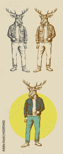 The Cool Deer Illustration Used Jeans