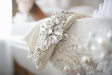 Wedding dress decoration close up