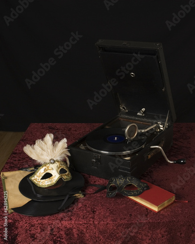 gramophone and mask