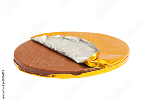 Gold Chocolate coin with gold wrapper