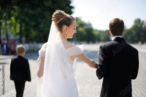Outdoor portrait of bride and groom