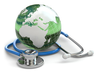 Global healthcare. Earth and stethoscope.