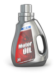 Motor oil canister on white isolated background.