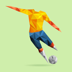 Abstract shape soccer player, polygonal.