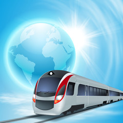Concept background with high-speed train, the globe and sun.