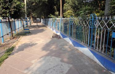 Homeless people sleeping on the footpath of Kolkata