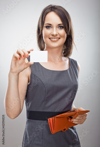 Happy business woman hold credit card. Purse.