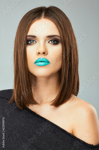 Woman blue lips beauty portrait. Female model