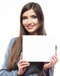 Smile Business woman portrait with blank white board