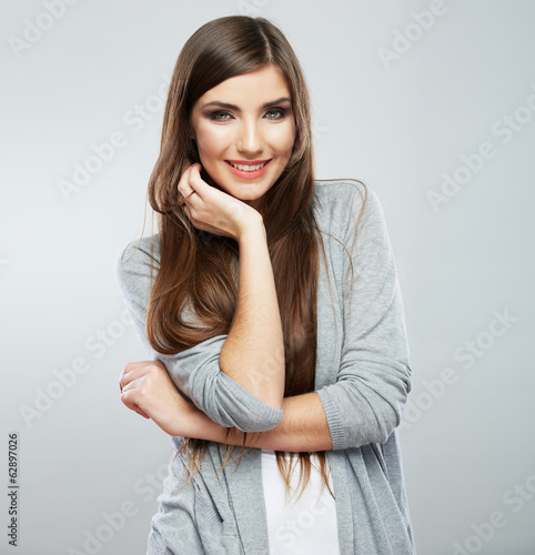 Young casual woman style isolated over white background. studio