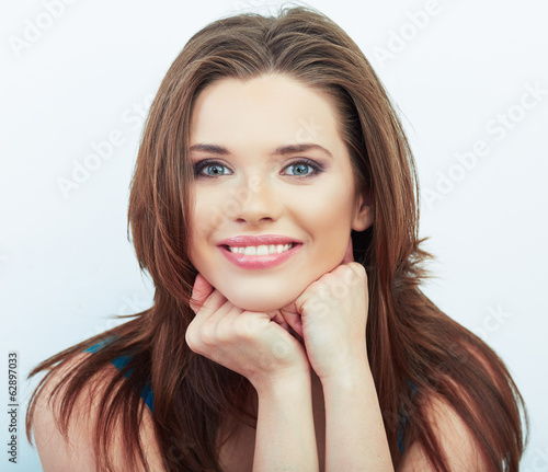 Portrait of Beautiful Woman. White background.