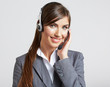 Headset woman customer service worker