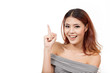 happy, smiling, positive, confident woman pointing upward