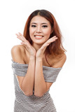 happy, smiling, confident woman showing positive expression poster
