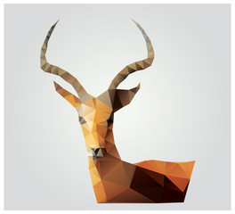 Geometric polygon antelope, triangle pattern design, vector