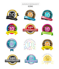 10th anniversary icons set, isolated, vector illustration