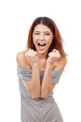 happy, smiling, confident woman showing positive expression
