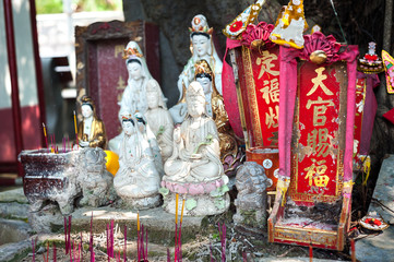 Street shrine for Guanyin, the Goddess of Mercy in Hong Kong